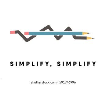 Simplify, simplify conceptual poster with pencil explanation. From complex to simple idea / pencil diagram. Invention process.