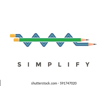 Simplify conceptual poster with pencil explanation. From complex to simple idea / pencil diagram. Invention process.