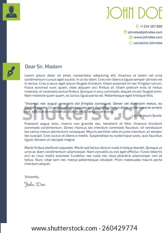 simplistic cover letter design with design elements