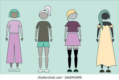 Simplistic diversity fashionable female icons