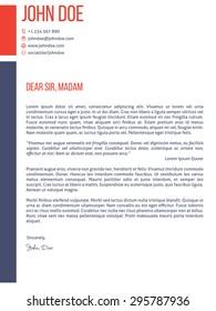 Simplistic yet modern cover letter curriculum vitae cv resume template design