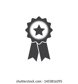 Simply award medal badge with star icon. certificate ui symbol. Stamp premium quality with ribbons pictogram. First place label user interface sign
