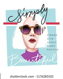 simply beautiful slogan with girl illustration