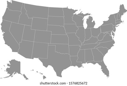 Simply clear USA map. Vector illustration