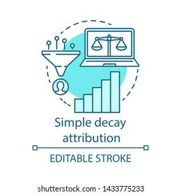 Simply decay attribution blue concept icon. Attribution modeling type idea thin line illustration. Multi-touch analyze. Conversion model. Vector isolated outline drawing. Editable stroke