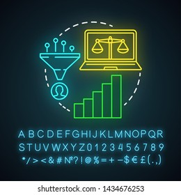 Simply decay attribution neon light icon. Attribution modeling type. Multi-touch analysis. Conversion model. Glowing sign with alphabet, numbers and symbols. Vector isolated illustration