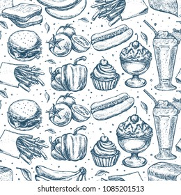 Simply food seamless pattern. Classic hand drawn sketch with milk shake, hot dog, cupcake, burger and french fries isolated on white background. Vector illustration.