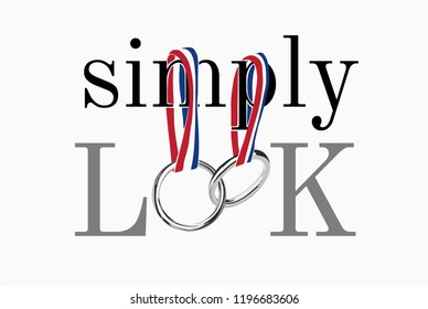 simply look slogan with ribbon and metal ring illustration