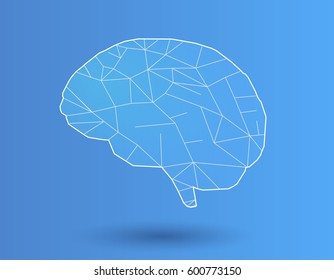 Simply stylized polygonal brain with white line on blue background