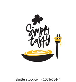 Simply tasty. Funny illustration of plate with spaghetti and fork