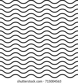 Simply Wave seamless pattern. Black and white endless wavy background. EPS10 vector.