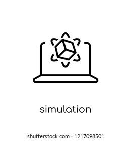 Simulation icon. Trendy modern flat linear vector Simulation icon on white background from thin line Programming collection, editable outline stroke vector illustration