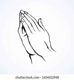 Hände beten. Zeichnungssymbol für Vektorillustrationen