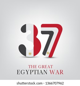 Sinai independence day or Sinai Liberation day 25 april  - Egypt flag on 37 numbers - Egypt War victories