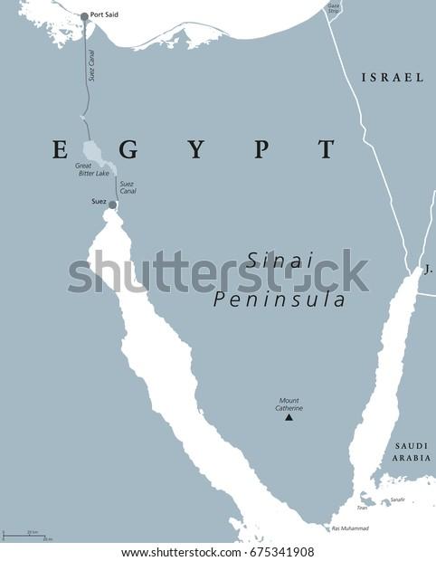 Sinai Peninsula Political Map Land Bridge Stock Vector ...