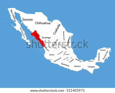 Mexico Map Sinaloa.Sinaloa Mexico Vector Map Silhouette Isolated Stock Vector Royalty