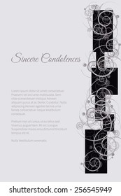 Sincere condolences vector lettering in abstract style, place for text