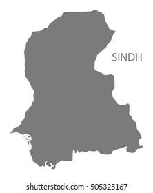 Sindh Pakistan Map grey