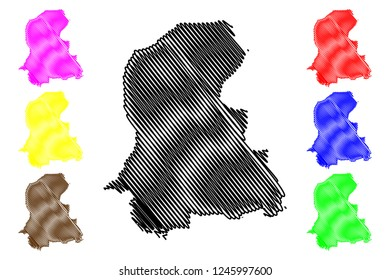 Sindh (Province of Pakistan, Islamic Republic of Pakistan, Administrative units and Districts of Pakistan) map vector illustration, scribble sketch Sindh province map
