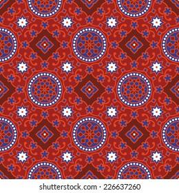 Sindhi traditional blue & red ajrak pattern background vector illustration.