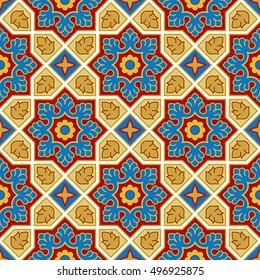 Sindhi traditional pattern background, Blue, Red & Golden Wallpaper, Vector Illustration
