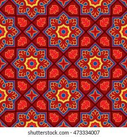 Sindhi traditional pattern background, Red & Blue Wallpaper, Vector Illustration