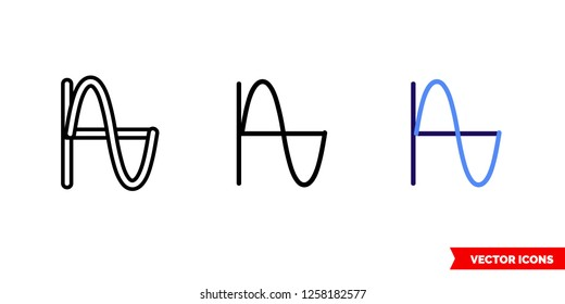 Sine icon of 3 types: color, black and white, outline. Isolated vector sign symbol.