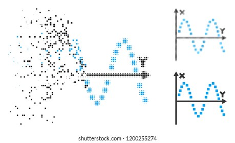 Sine plot icon in dissolving, dotted halftone and undamaged solid variants. Particles are combined into vector dissolving sine plot symbol. Disintegration effect involves rectangle dots.