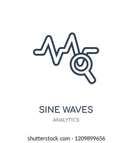 Sine Waves Analysis icon. Sine Waves Analysis linear symbol design from Analytics collection. Simple outline element vector illustration on white background.
