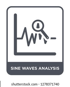 sine waves analysis icon vector on white background, sine waves analysis trendy filled icons from Business and analytics collection, sine waves analysis vector illustration
