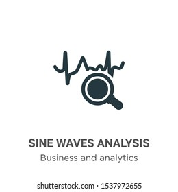 Sine waves analysis vector icon on white background. Flat vector sine waves analysis icon symbol sign from modern business and analytics collection for mobile concept and web apps design.