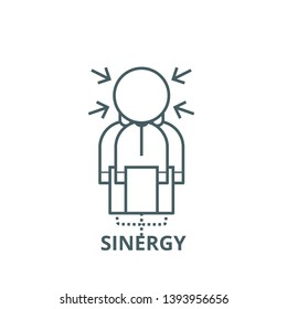 Sinergy vector line icon, linear concept, outline sign, symbol