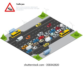 Sing and illustration of Traffic jam on the road. Rush hour. Transport car, urban and asphalt. Isometric vector illustration for infographics.