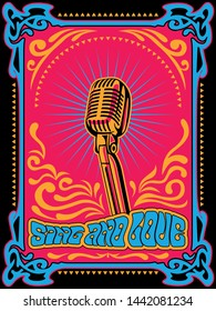 Sing and Love Vintage Hippie Style Psychedelic Art Karaoke, Music Poster, 1960s, 1970s Colors and Shapes, Microphone, Decorative Background