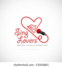 Sing lovers abstract vector symbol icon or Logo Template