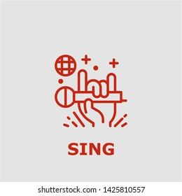 Sing symbol. Outline sing icon. Sing vector illustration for graphic art.