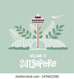 Singapore / Singapore - 9 August 2019: World famous singaporean airport Changi drawn by hand and decorated with tropical plants