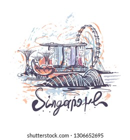 Singapore abstract color drawing. Singapore sketch vector illustration isolated on white background.