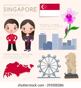 Singapore : Asean Economic Community (AEC) Infographic with Traditional Costume, National Flower and Tourist Attractions : Vector Illustration EPS10