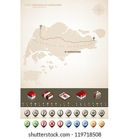 Singapore and Asia maps, plus extra set of isometric icons & cartography symbols set