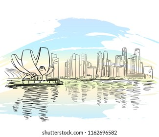 Singapore - August 21, 2018: Sketch of Singapore cityscape, Downtown business district at Marina Bay view, Hand drawn vector linear illustration on watercolor background