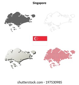 Singapore blank detailed outline map set - vector version