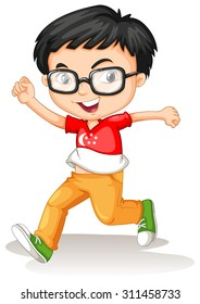 Singapore boy wearing glasses illustration