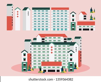 Singapore building apartments vector illustration