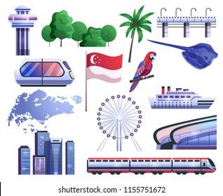 Singapore cartoon set icons of map flag transport gardens fauna ferris wheel vector illustration