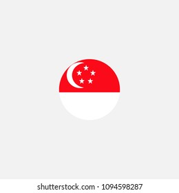 Singapore Circle Flag Vector Illustration