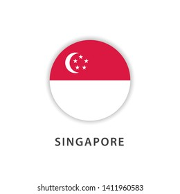 singapore circle flag vector template. Design for banner, greeting cards or print.