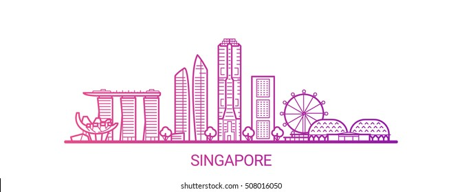 Singapore city colored gradient line. All Singapore buildings - customizable objects with opacity mask, so you can simple change composition and background fill. Line art.