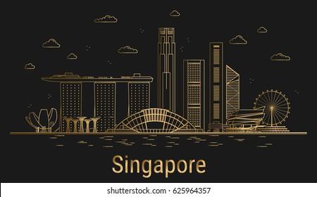 Singapore city line art, golden architecture vector illustration, skyline city, all famous buildings.