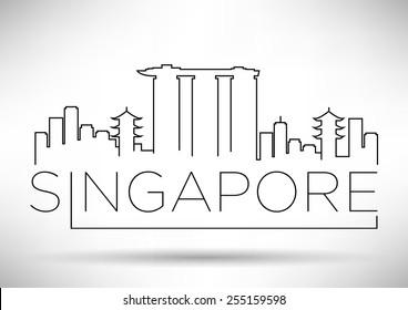 Singapore City Line Silhouette Typographic Design